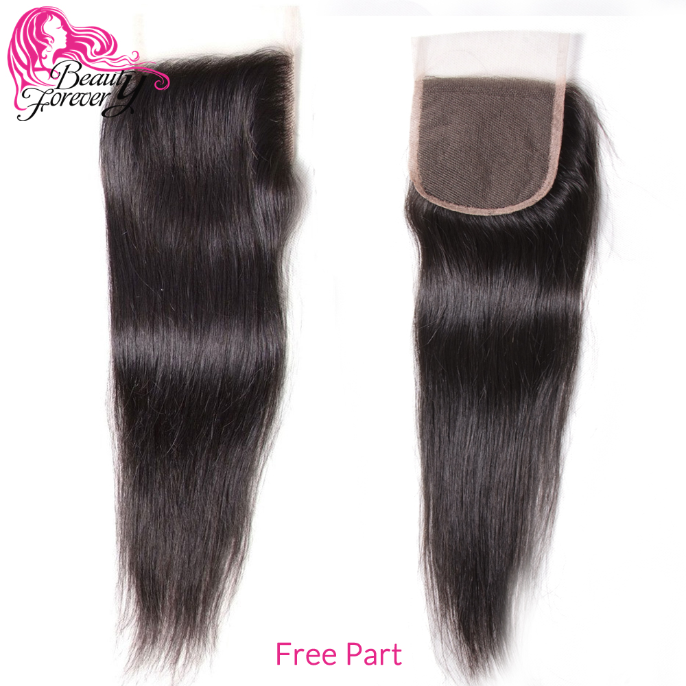 Beauty Forever Straight Hair Brazilian Human Hair Bundles With 4*4 Lace Closure Free/Middle/Three Part 100% Remy Hair Extensions