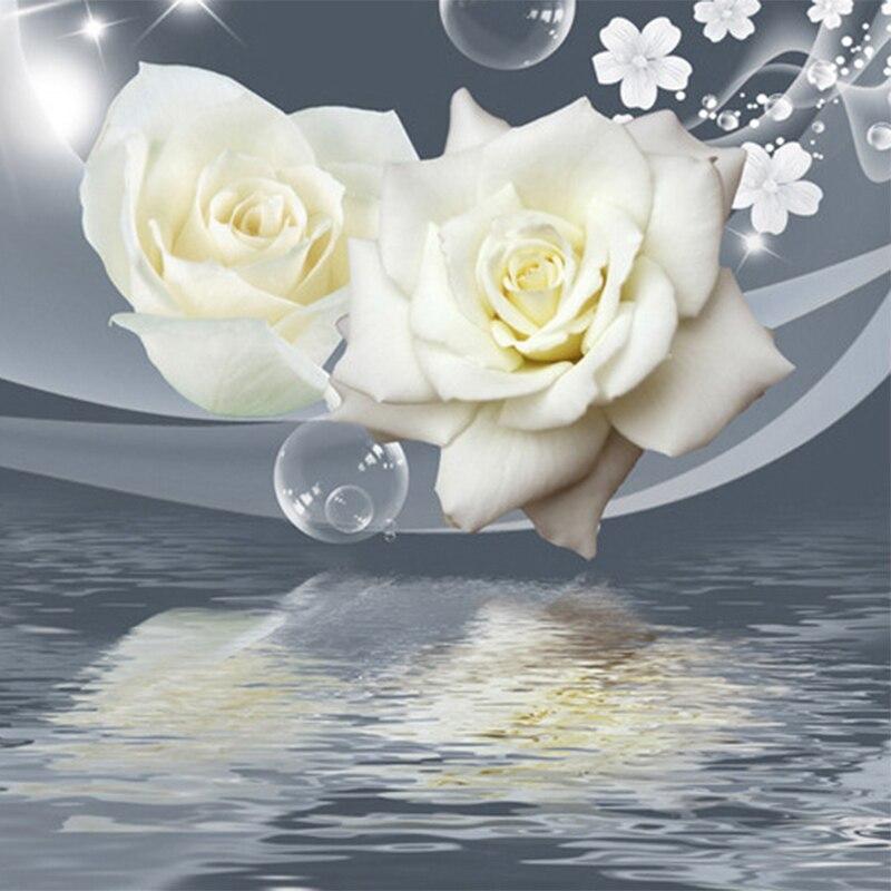 Fresh Elegant White Rose Flower Bubble Photo Wallpaper Living Room