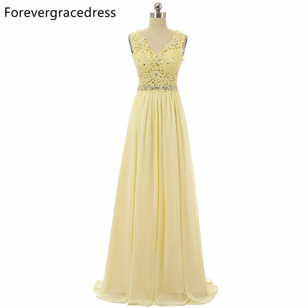 Forevergracedress Real Pics Lace Bridesmaid Dress V Neck Chiffon Long With Zipper Back Wedding Party Gown Plus Size Custom Made