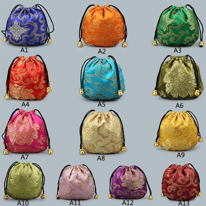 Миниатюрная многоразовая парчовая сумка, тканевый мешок на шнурке для хранения подарков ручной работы, китайские шелковые мешочки из парчо...