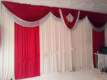 New Design Red Wedding Backdrop Swag Decoration 10FTX20FT Silver Paillette Party Decoration Supplies For Wedding party