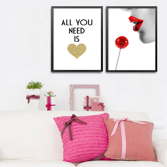 All You Need Is Love Red Lips Shoes Art Prints Poster Fashion Wall Picture Canvas Painting Room Decor No Frame