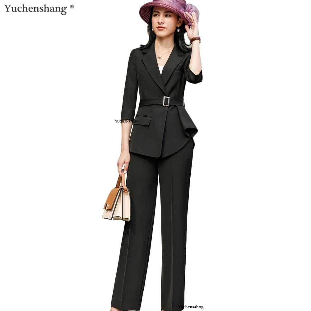 f00ddaae18d1 Women elegant black white pant suit with belt fashion formal long sleeve  symmetrical blazer with trousers