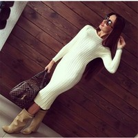 Women Fashion Twisted Back Slit Sweater Dress Solid Dames Knitted Pull Femme Long Sleeve Midi Pullover