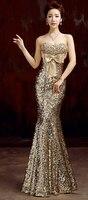 2018 Бесплатная доставка MJ434 без бретелек длинное вечернее платье длинное гоночное блестящее платье