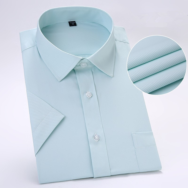 Plus Size 8XL 7XL 6XL 5XL 4XLSummer Men Shirts Short Sleeve Solid Dress  Casual Shirts Green Slim Twill Work Social Male Blouse