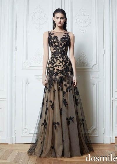 Heißer Verkauf Neue Mode A linie U ausschnitt Applique Zuhair Murad ...