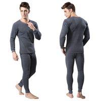 Men 2Pcs Cotton Thermal Underwear Set Winter Warm Thicken Long Johns Tops Bottom 3 Colors P1