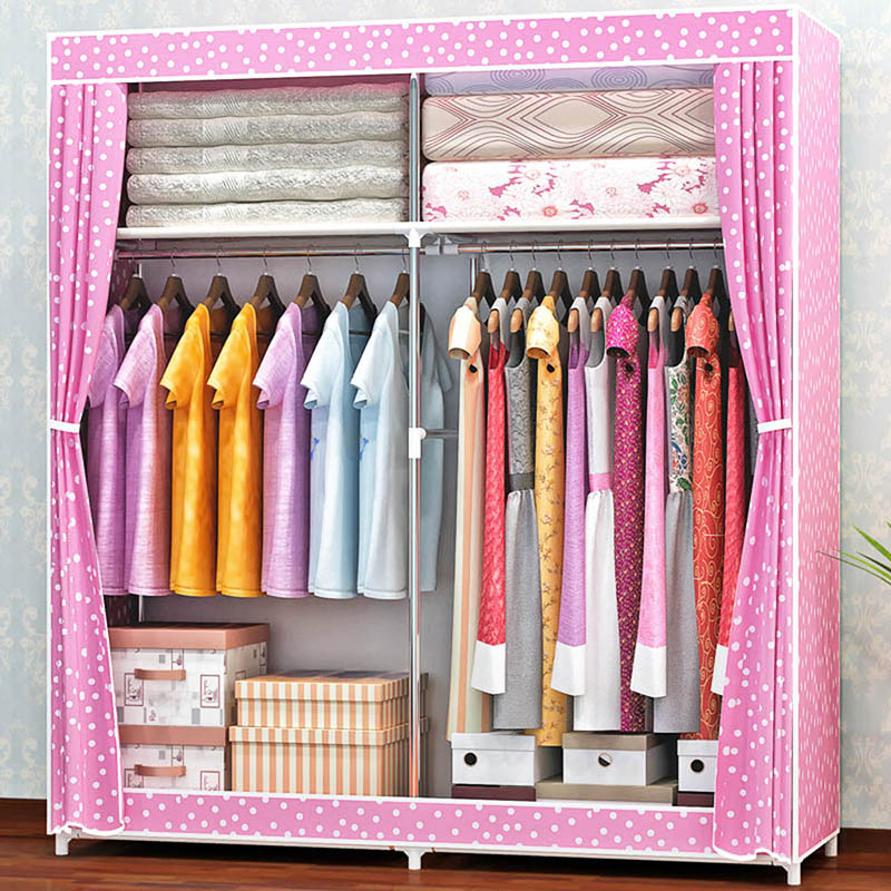 Simple Wardrobe Large Capacity Non-woven Wardrobe Curtain Type Dustproof  Storage Household stainless steel storage furnitureSimple Wardrobe Large Capacity Non-woven Wardrobe Curtain Type Dustproof  Storage Household stainless steel storage furniture