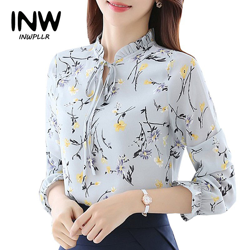 Blusas Femininas 2018 Fashion Floral Tops And Blouses Mujer Autumn Long Sleeve Femme Shirts Print Chiffon Women Blouses(China)