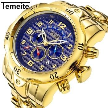 TEMEITE brand mens watch quartz stainless steel man wristwatch waterproof Multifunction men watches luxury gold blue Large dial Переносные часы