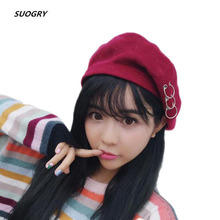 New Women Beret Hat Solid Color Plain Winter Hats for Wool Feel with Ring chapeu feminino casquette