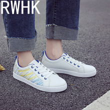 RWHK Female 2019 spring new Korean version of the wild flat bottom shoes casual breathable white B360