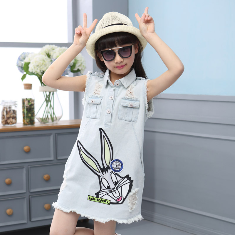 2018 novo verão roupas da menina do bebê jean vestido meninas denim vestido moda dos desenhos animados do bebê sem mangas buraco vestidos varejo