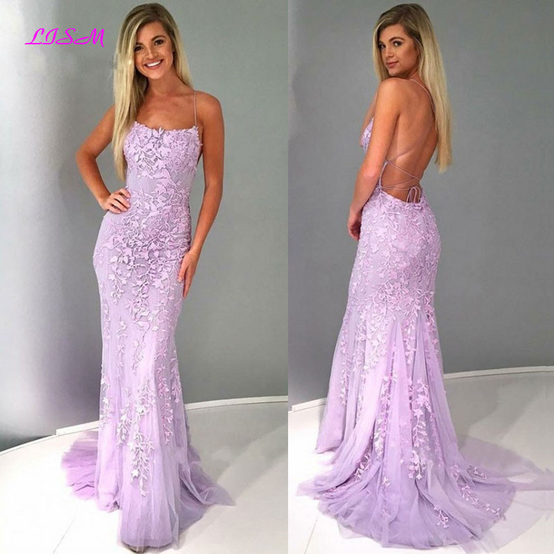 Spaghetti Straps Mermaid   Prom     Dresses   Long Appliques Tulle Pageant Party Gowns Sexy Backless Evening Formal   Dress   vestido gala