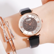 Top Brand  Famous Classical Design New Fashion Rose Gold Leather Watches Women Ladies Casual Dress Quartz Wristwatch