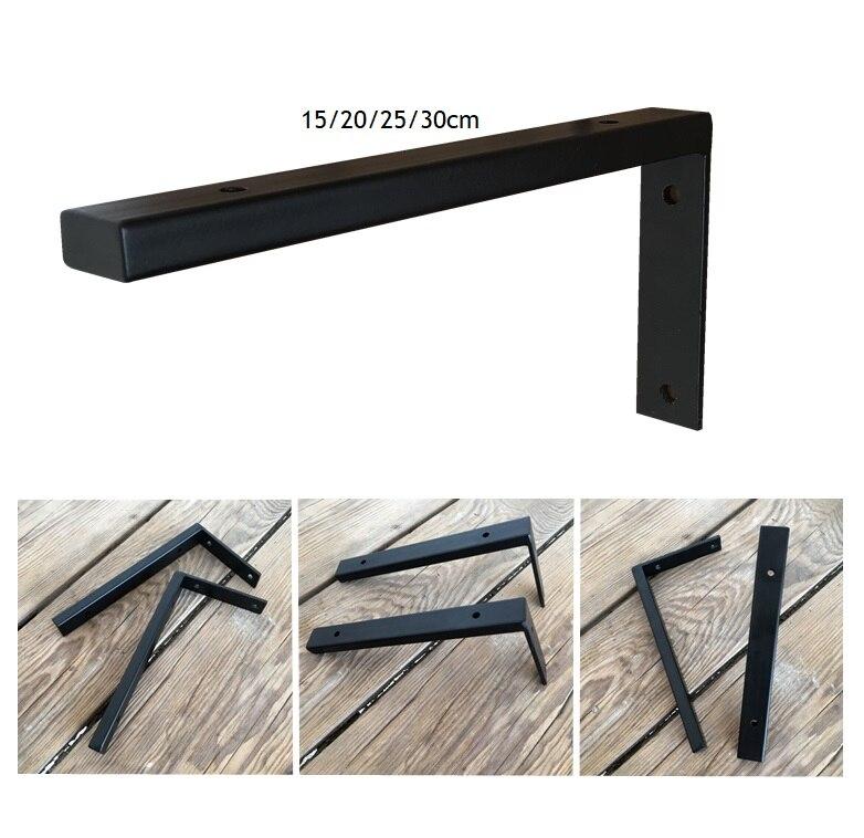 1Pair (2 Pcs)/Lot Black Wall Mounted Rectangle Tube Shelf Bracket Brackets Support With Screws