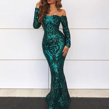 Green Sequined Maxi Dresses Off The Shoulder Slash Neck Party Dresses Elegant Maxi Dress Winter Evening Gown Sequined Dress