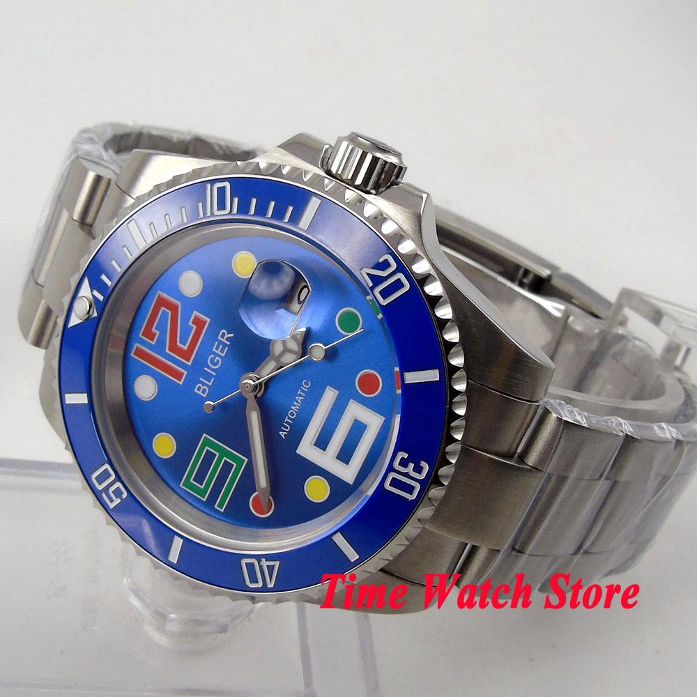 Bliger 40mm blue dial colorful marks saphire glass blue Ceramic Bezel Automatic movement Men's watch цена и фото