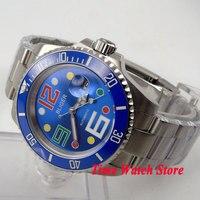 Bliger 40mm mostrador azul colorido marcas saphire vidro azul moldura cerâmica movimento automático relógio masculino|watch men|watch men watch|watch watch -