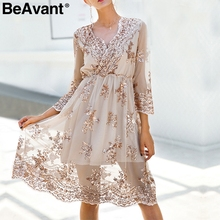 BeAvant 2018 new gold sequin embroidery summer dress Women deep v neck mesh sexy dress Elegant party dress vestido de festa