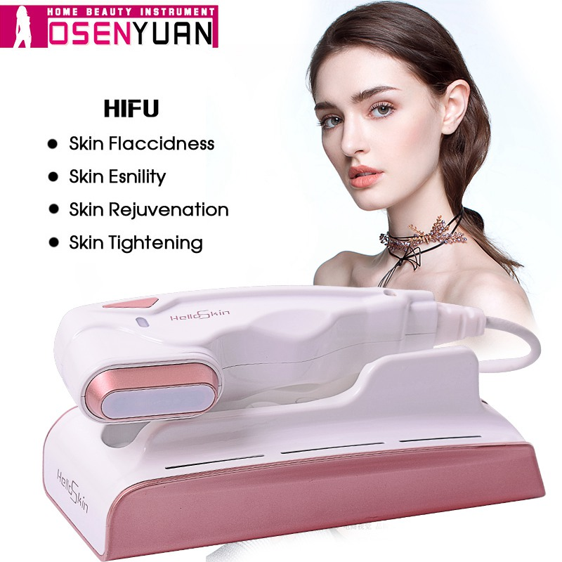 2019 Mini Hifu Focused Ultrasound Bipolar RF Face Neck Lifting Beauty Massager Wrinkle Removal Tightening High Radio Frequency