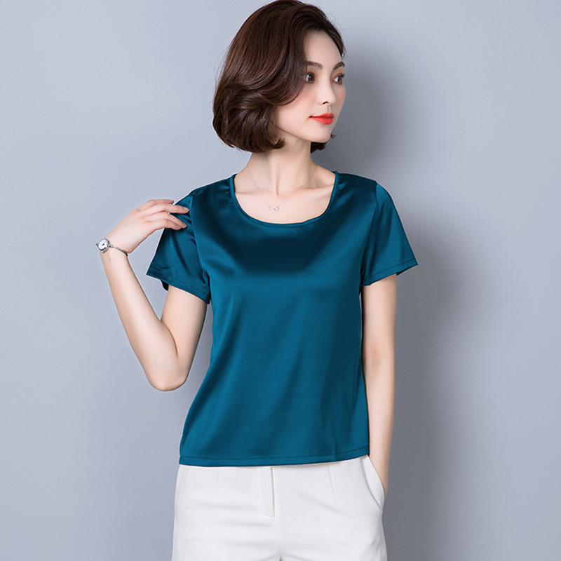 O-Neck Fashion Woman Blouses 2018 Plus Size Women Clothing Solid Satin Imitated Silk Basic Bottoming Shirts Summer Tops Femme 1