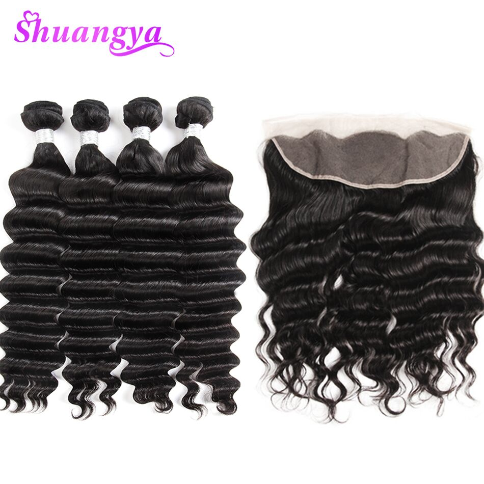 Malaysian Remy Hair Weave Bundles Frontal More Wave Loose Deep Lace Frontal Closure With Bundles 3