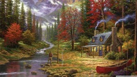 Free shipping Thomas Kinkade reproduction Pastoral landscape giclee prints canvas nice quality painting