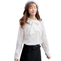 2017 Autumn Fashion Korean Lace Hollow Out White Red Blouse Women S Bow Stand Collar Shirt