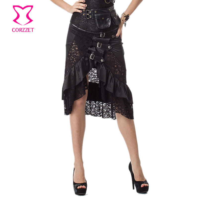 6XL Black Floral Lace And Satin Ruffles Mermaid Victorian Gothic Skirt Plus Size Steampunk Skirts For Women Matching Sexy Corset