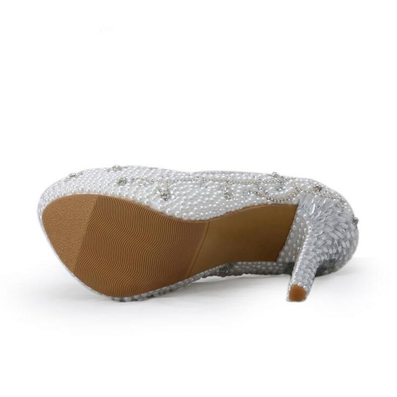 2018 kristall Handgemachte Weiß Ferse Perle Braut Schuh Luxuriöse Strass Hochzeit Schuhe Frauen High Heels Plattform Pumpen Plus Größe - 3