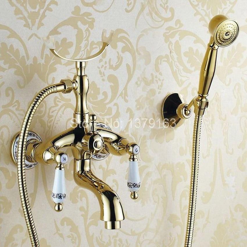 Luxury Gold Color Brass Bathroom Wall Mounted Handheld Shower Bath Tub Faucet Mixer Tap With Shower Head Bracket Holder atf406 bakala brass bath black faucets wall mounted bathroom basin mixer tap crane with hand shower head bath