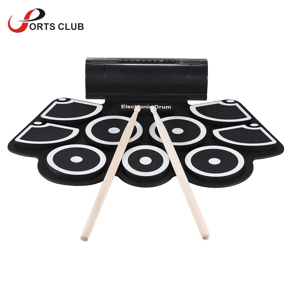 Portable Rotolo Elettronica Drum Pad Set 9 Pad di Silicio Piede Pedali USB 3.5mm Audio Altoparlanti Incorporati con Bacchette cavo