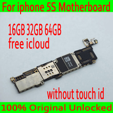 16GB 32GB 64GB Free iCloud for iphone 5S Motherboard,100% Original unlocked for iphone 5S Mainboard without Touch ID Good Tested