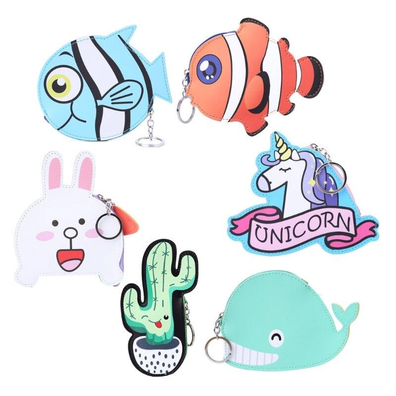 THINKTHENDO Cute Kids Girls Cartoon Animal Storage Bags Coin Purse Change Wallet Pouch Bag