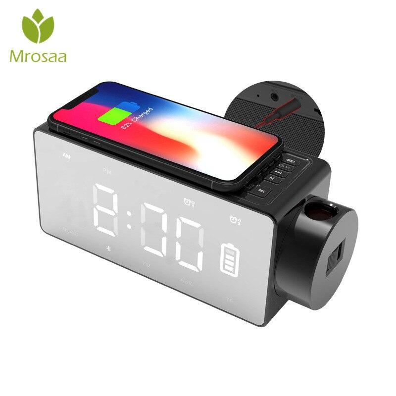Recharge sans fil Projection horloge numérique bluetooth haut-parleur LED grand écran réveil Snooze FM bricolage alarme musique horloges de Table