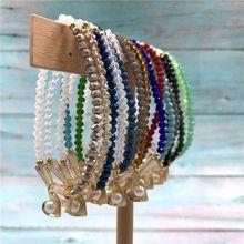 1 Pcs New Fashion Two Tones  Elastic Heart Charms Bracelets Crystal Bracelets for Women Handmade Jewelry handmade authentic crystal bracelets