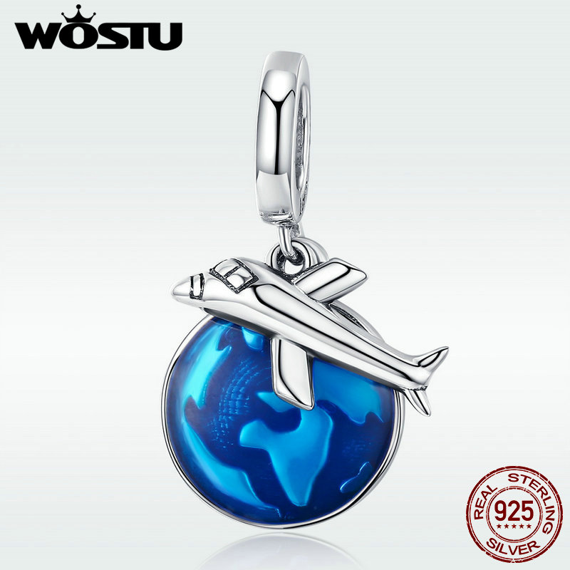 WOSTU Authentic 925 Sterling Silver World Travel Plane & Earth Dangle Charm fit Beads Bracelet Necklace DIY Jewelry DXC664