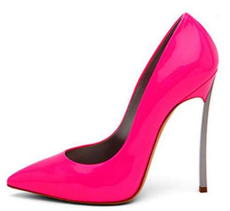 Women Hot Selling Fuchsia Patent Leather Pointed Toe Metel Heel Pumps Sexy Stiletto Heel 12cm High Heels Formal Dress Shoes цена
