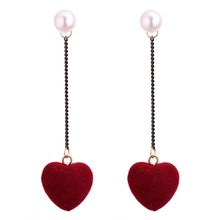 Female Sweet Earrings Long Dangling Velvet Heart Turkish Korean Indian Style Girlfriend Birthday Gift Valentine