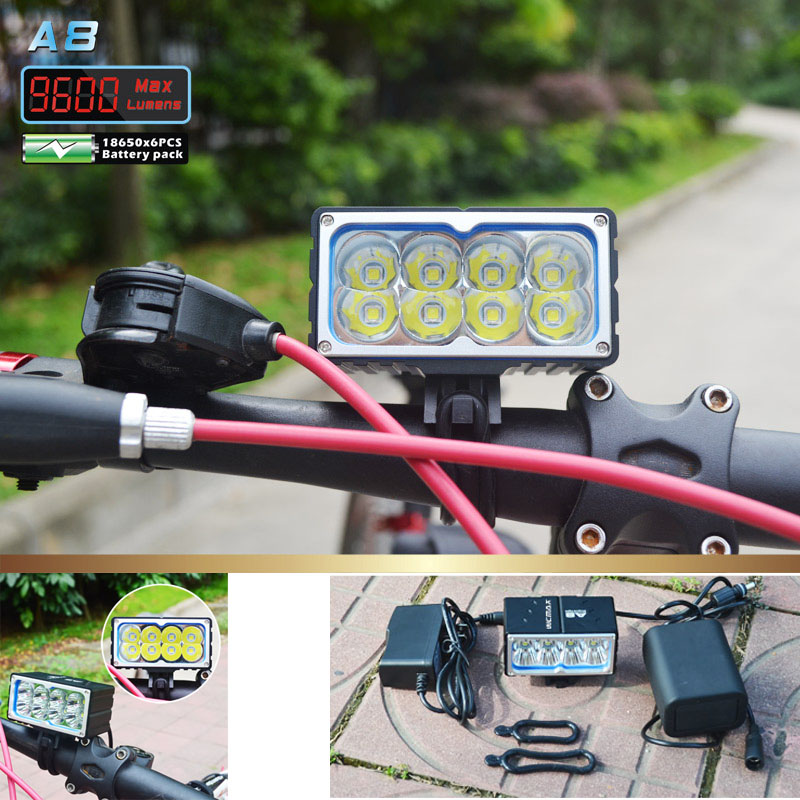 цена на 8 X XM-L2 LED A8 Bicycle Bike Light 9600LM LED 3 Mode headLamp with 10000mAh Waterproof Battery Pack and charger