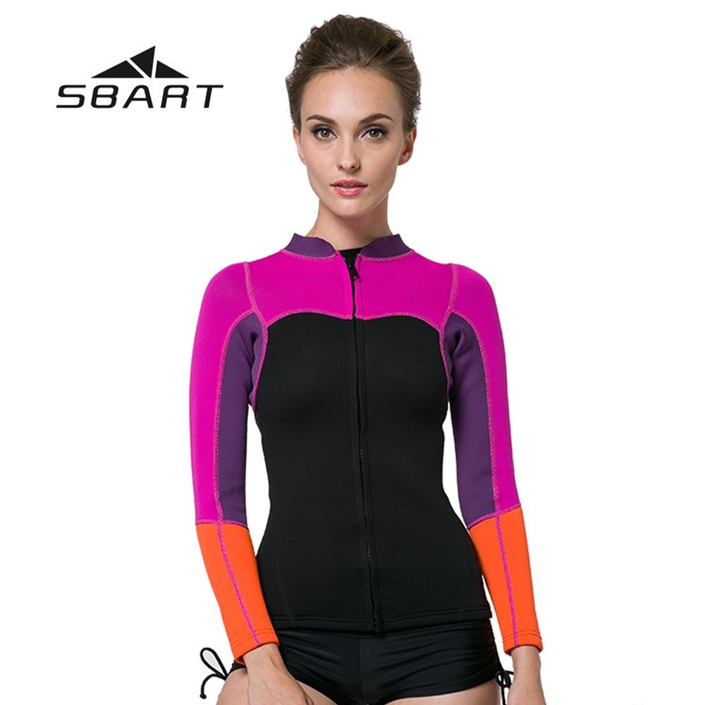 Comprar ahora SBART triatlón Rash Guard natación Windsurfing traje de baño 2mm  neopreno mujer buceo chaqueta Kite surf 2cbcbdd31af