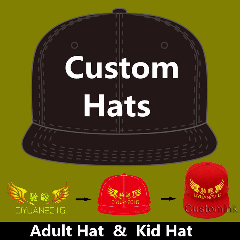 Wholesale 10PCS LOT Personalized Snapback Cap Custom Baseball Hat trucker cap Adult Children size Embroidery Logo