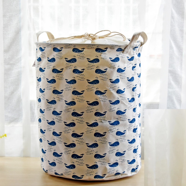 Blue Whale Cotton Linen Storage Baskets Bunch Of Pocket Baby Toys Clothes Laundry Basket