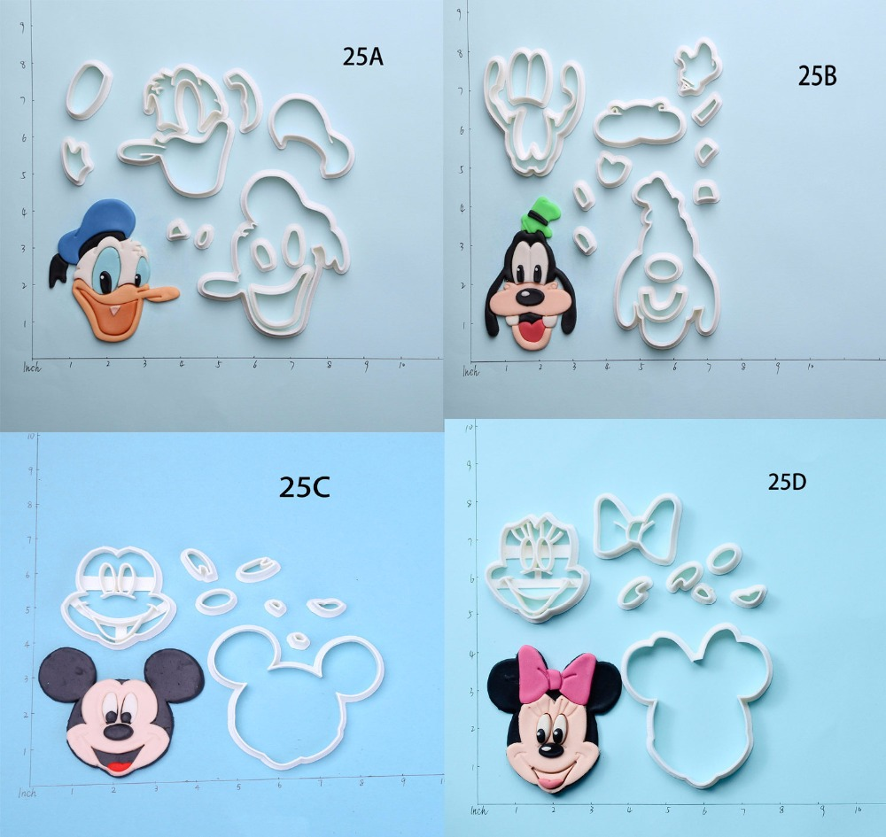 Famoso Personagem de Desenho Animado Mickey Mouse Cookie Cutter Custom Made 3D Impresso Queque Fondant Cortadores cortadores de fondant