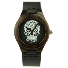 Skull Dial Bamboo Wooden Watches Women Man Wristwatches Leather Strap Analog Quartz Watch Lover Masculino Feminino Relogio