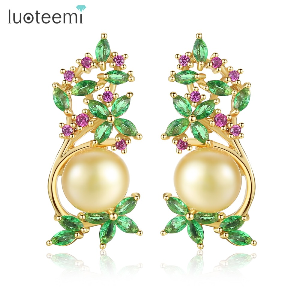 LUOTEEMI Trendy Gold-color Natural Pearl Flower Stud Earrings For Women AAA CZ Crystal Anniversary Party Earring Jewelry Brincos все цены