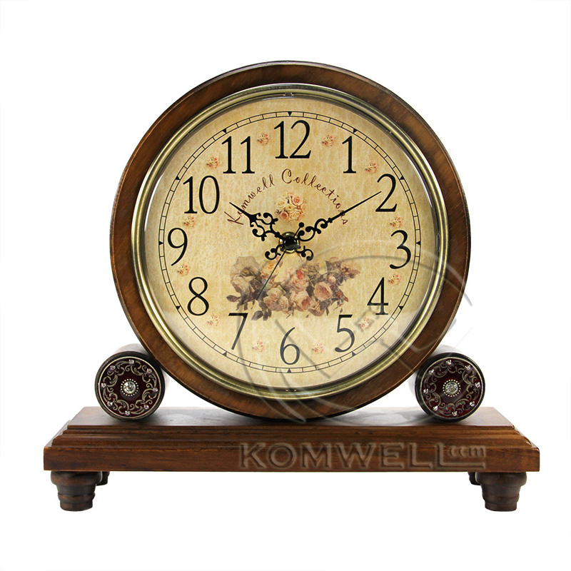 Hot Sell Retro Wood Desk Clock Vintage Home Fashion Clock European Bamboo&  Wooden Creative Masa Saati - Antique Desk Clock Antique Furniture