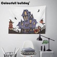 Pumpkin Lantern Terror Tapestries Halloween Wall Hanging Black Cat Witchcraft Farmhouse Home Decoration Bedspreads 150Cm Woven